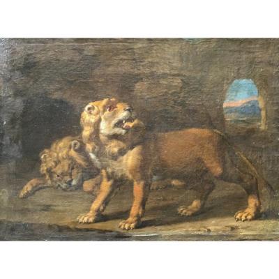 Peintre Flamand, Paysage Aux Lions