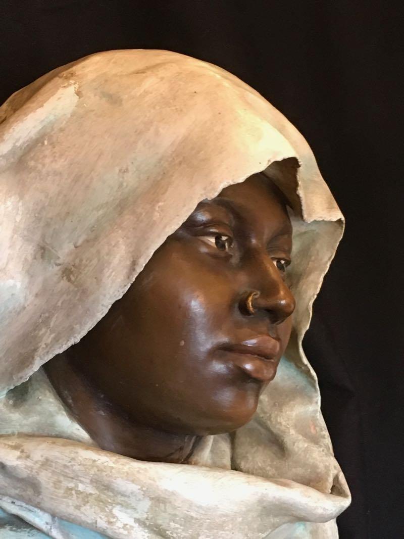 Buste En Terre Cuite Signé Léon Bohn
