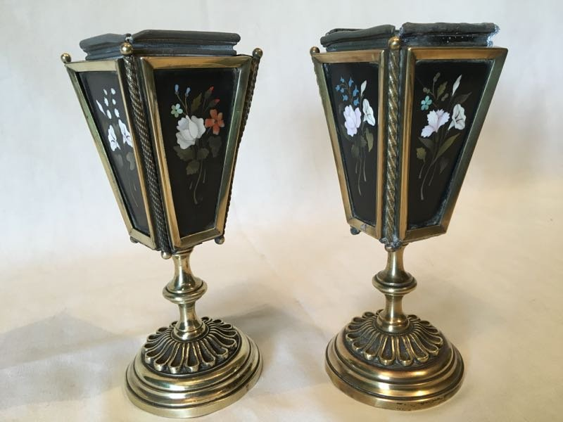 Pair Of Planters In Marquetry Marble.