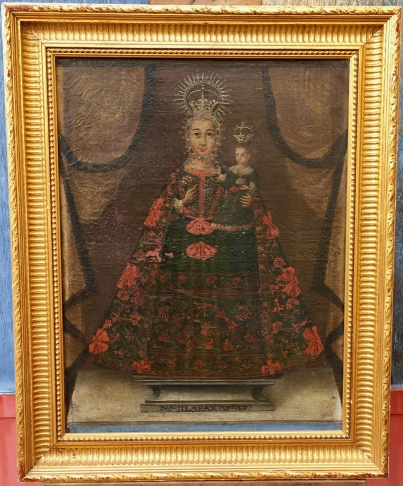 Oil On Canvas Virgin And Child School Of Cuzco Nineteenth