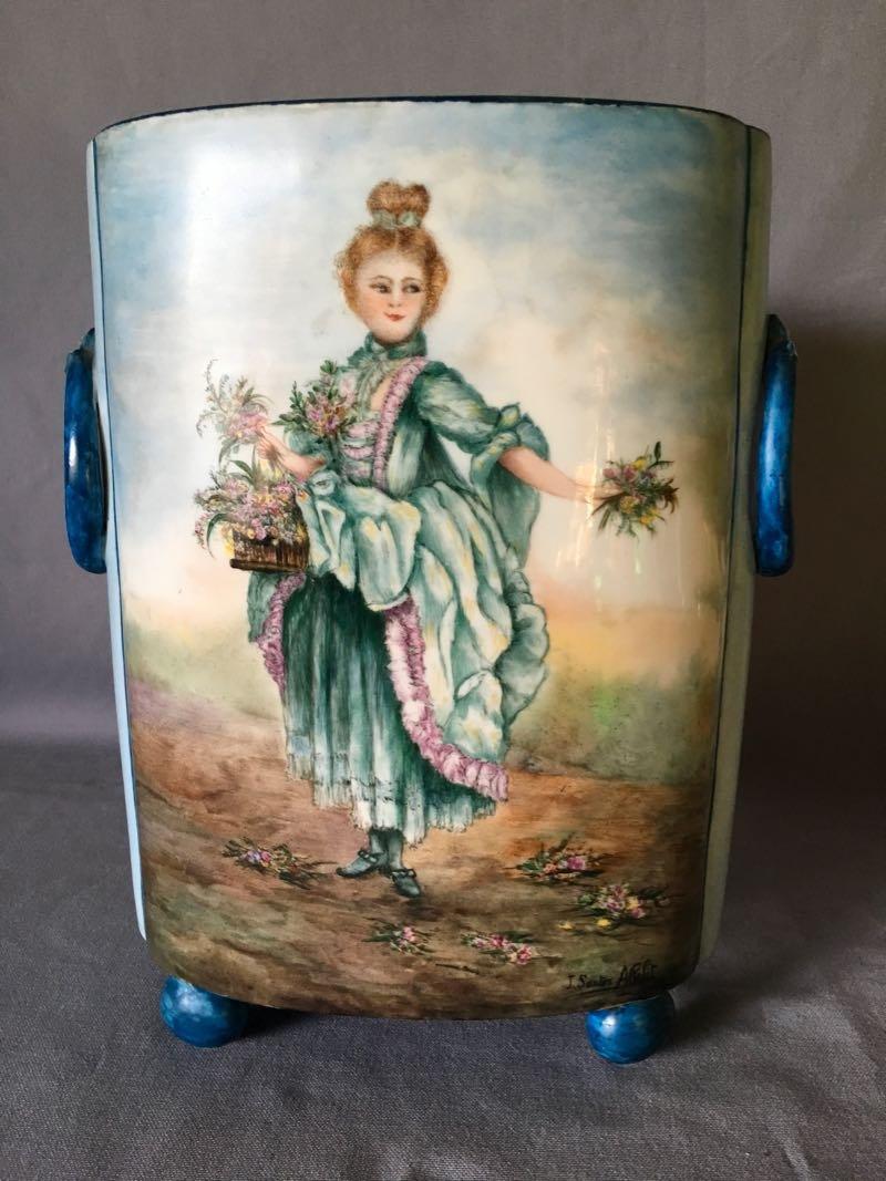 Porcelain Vase Signed Jeanne Sauton Allelit