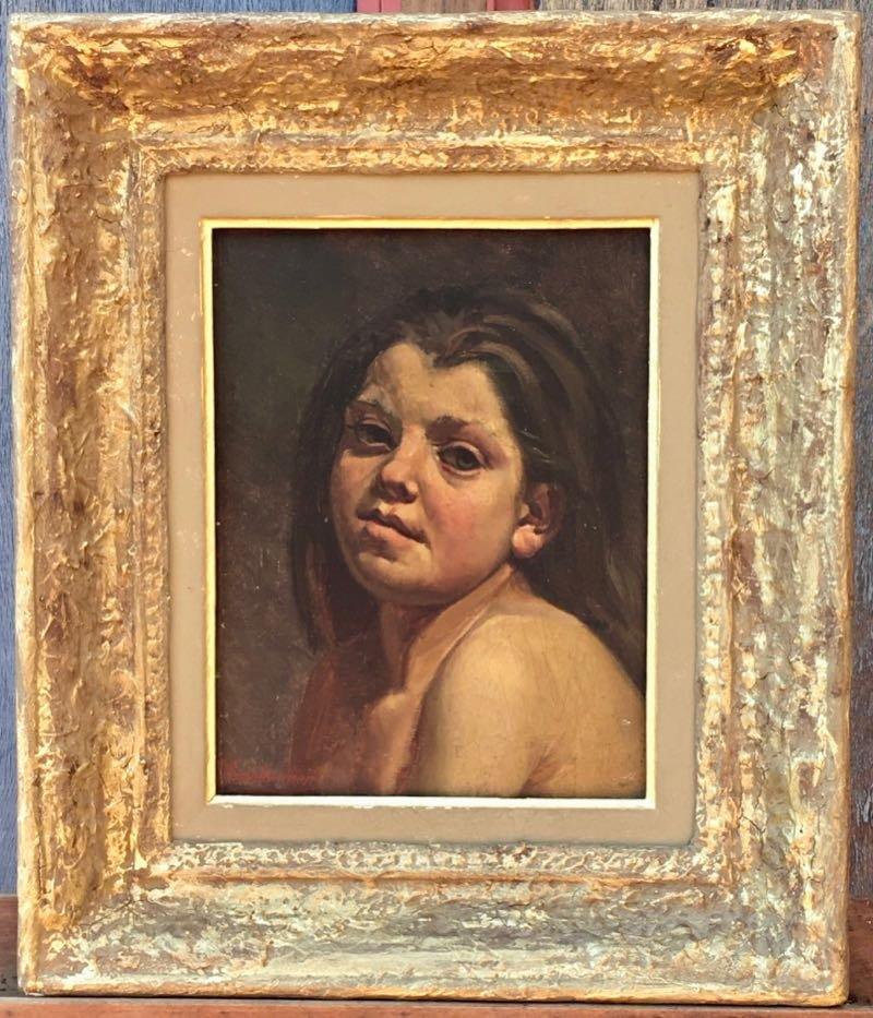 Table Portrait Young Girl Signed G. Reinheimer