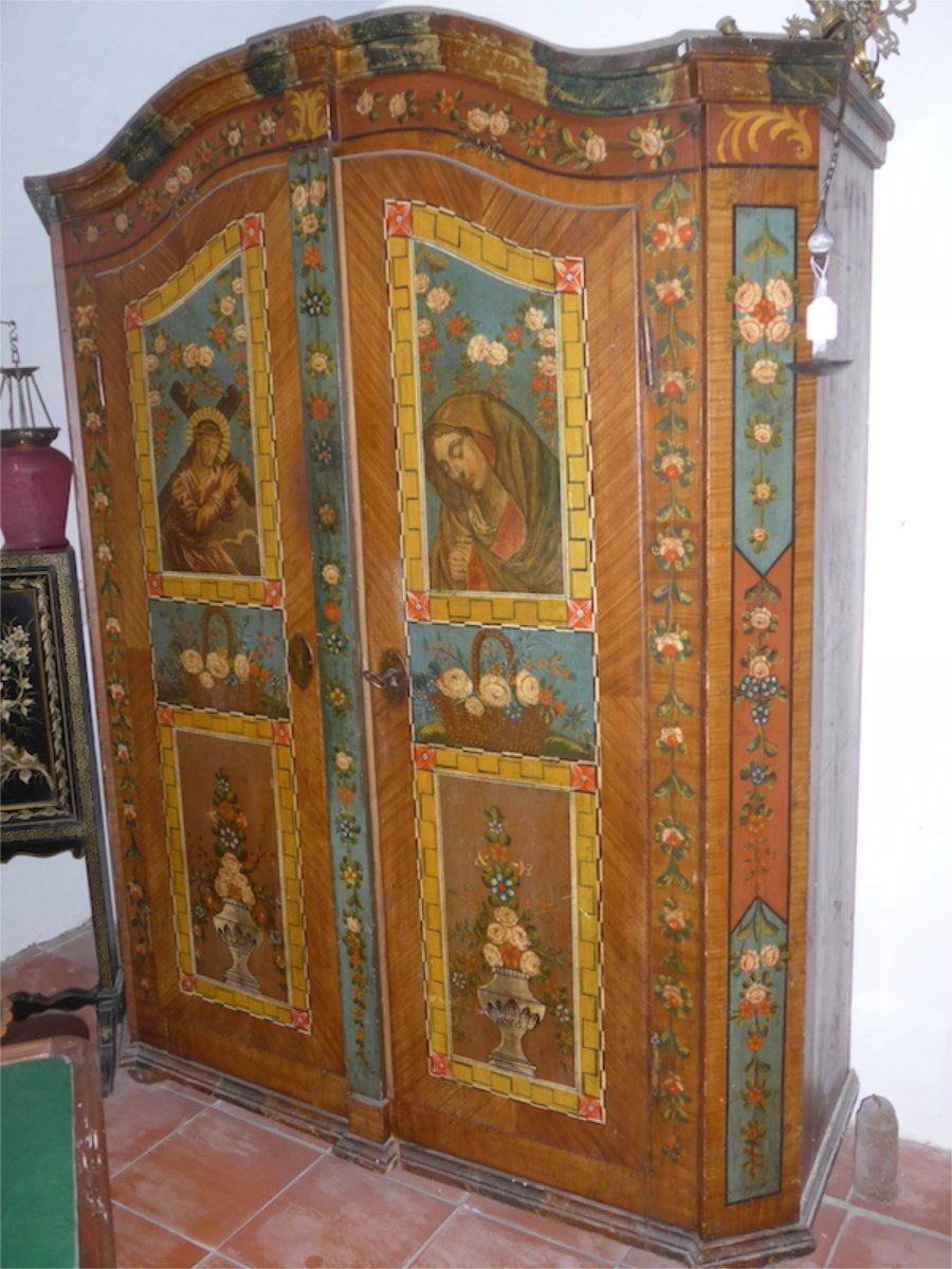 18th Century Tyrolean Painted Armoire