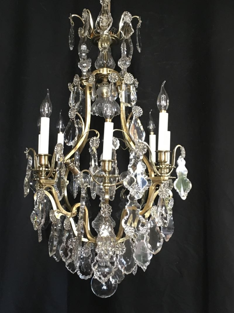 Large Cage Chandelier With Tassels.