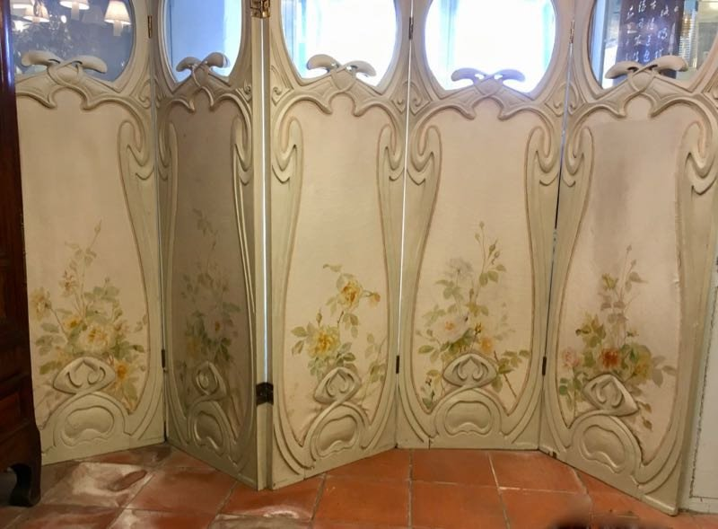Grand Paravent Art Nouveau Style Hector Guimard-photo-2
