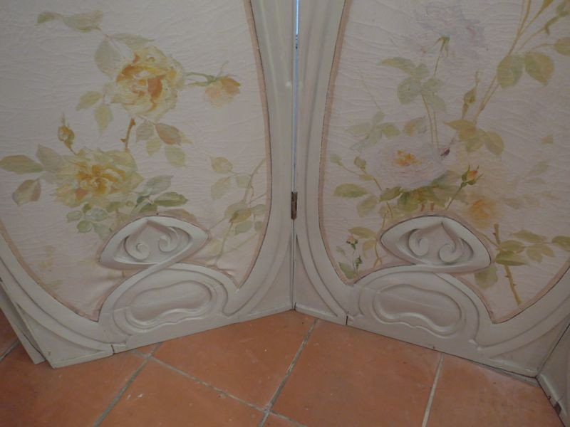 Grand Paravent Art Nouveau Style Hector Guimard-photo-4