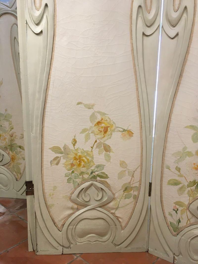 Grand Paravent Art Nouveau Style Hector Guimard-photo-3