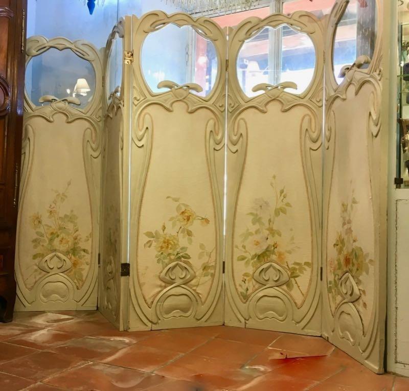 Grand Paravent Art Nouveau Style Hector Guimard