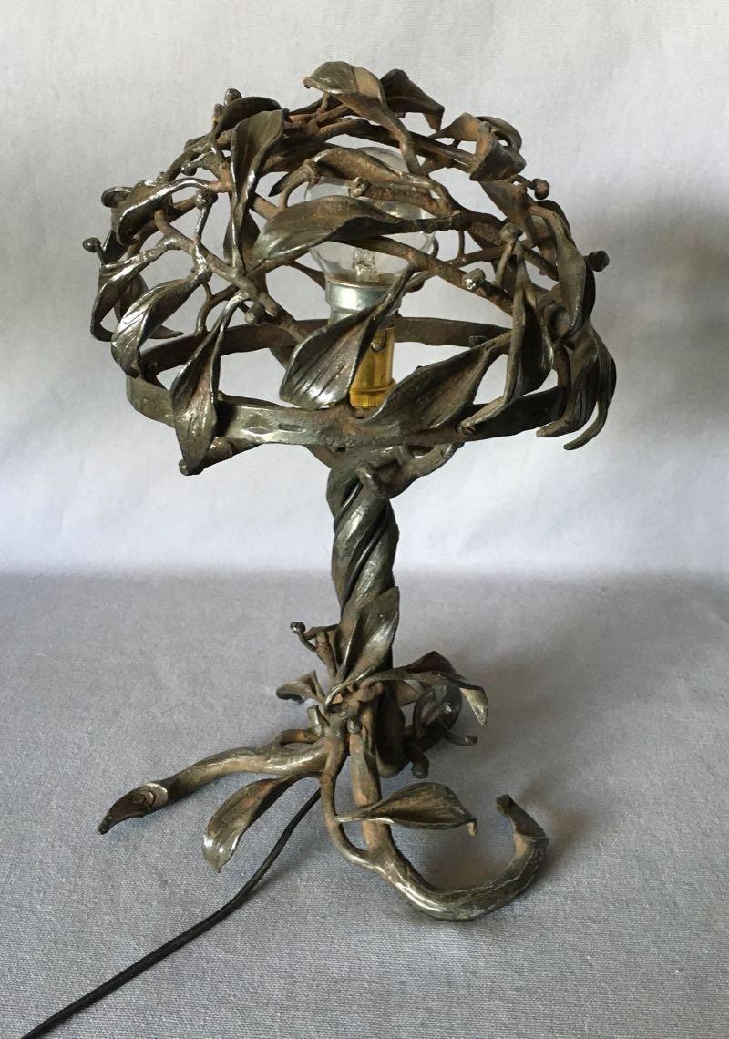 Lampe Art Nouveau En Fer Forgé-photo-2