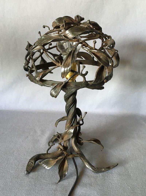 Lampe Art Nouveau En Fer Forgé-photo-3