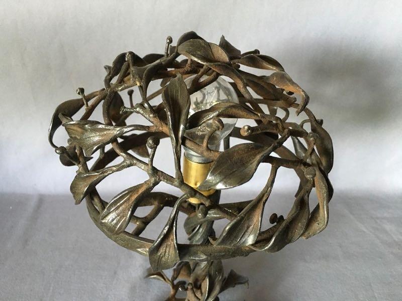 Lampe Art Nouveau En Fer Forgé-photo-1
