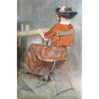 A. Blunck, Woman Back Table Seated In A Cafe