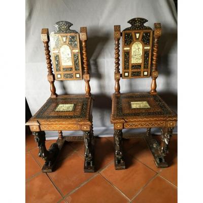 Paire De Chaises Florentine En Marqueterie