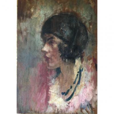 Tableau Huile Sur Panneau Portrait Jeune Femme Années 20