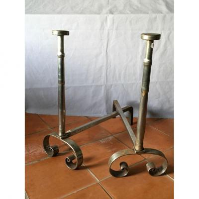 18th C Pair Of Chenets In Polished Iron