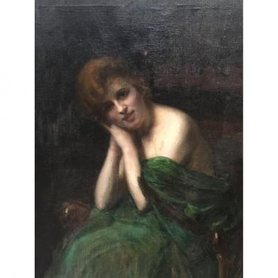 Grand Tableau Huile Sur Toile Jeune Femme époque Art Nouveau