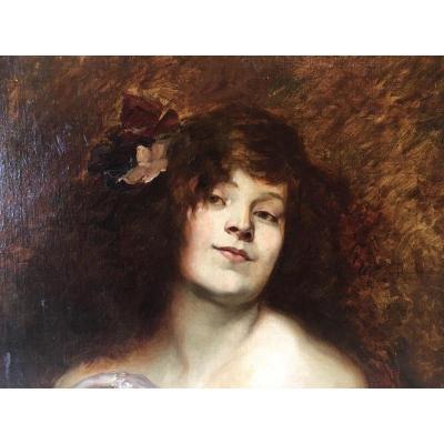 Tableau Huile Sur Toile Portrait Jeune Femme Art Nouveau