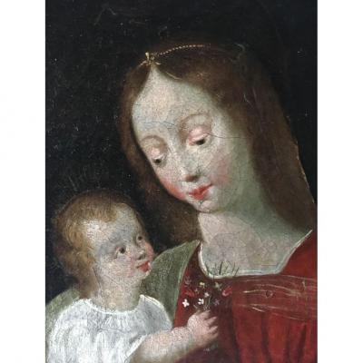 Oil On Canvas Virgin And Child