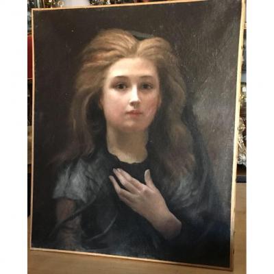 Table Oil On Canvas Portrait Young Woman 1900 Symbolist