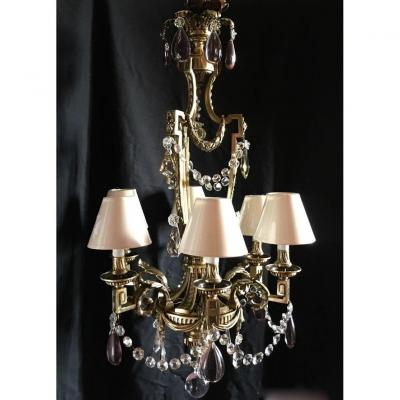 Large Bronze Chandelier In Louis XVI Style