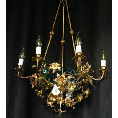 Chandelier 6 Arms With Flowers In Brass And Porcelain.