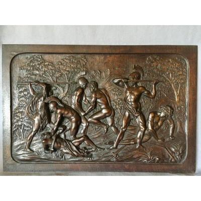 Panneau En Noyer Sculpté XIXe