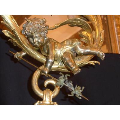 Lustre en Bronze Doré Fin XIXe - Début XXe .