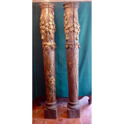 Paire De Colonnes En Bois Sculpté XVIIIe -