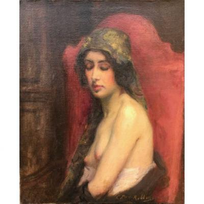 Table Oil On Canvas Naked Woman Signed Lucy Lee-robbins