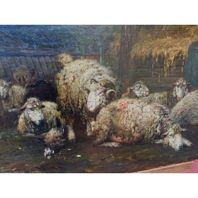 Oil On Canvas Sheep In The Sheepfold Signed A. Kallenberg