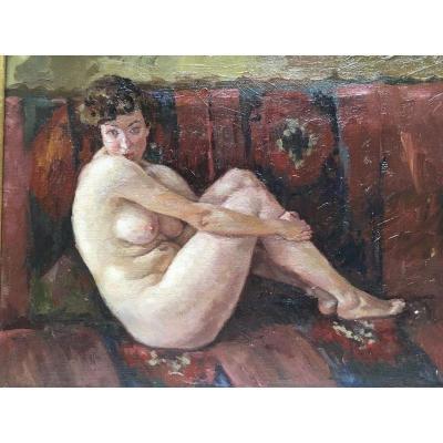 Tableau Nu Femme Assise Sur Un Divan