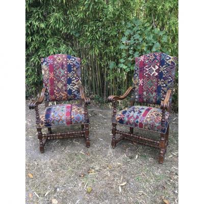 Pair Of Louis XIII Armchairs, XVIIth Century.