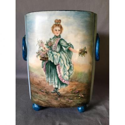 Vase En Porcelaine Signé Jeanne Sauton Allelit