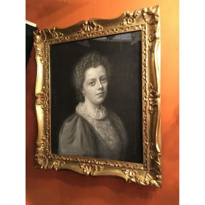 Portrait Pastel Noir Et Blanc XIXe