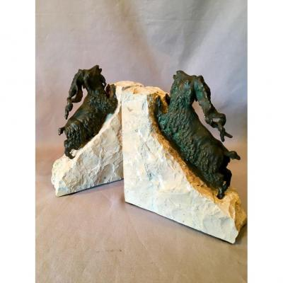 Ibexes In Bronze Bookend