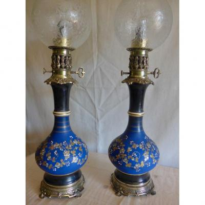 Pair Of Porcelain Moderator Lamps Late Nineteenth.
