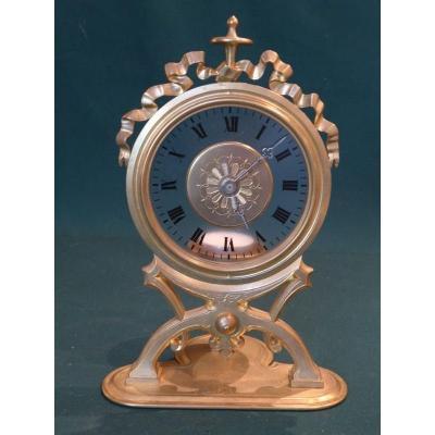 Nightlight Clock Late Nineteenth Gilt Bronze