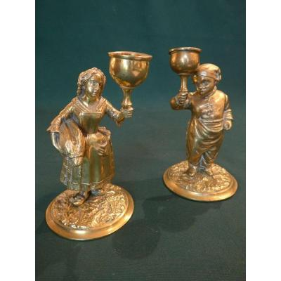 Pair Of Candlesticks With Characters Late Nineteenth.