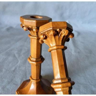 Pair Of Charles X Candlesticks In Boxwood