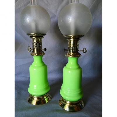 Pair Of 19th Century Opaline Moderator Oil Lamps