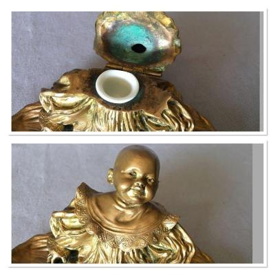 Inkwell In Bronze Signed Louchet