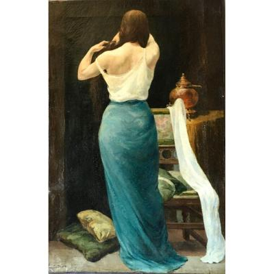 Painting Woman From Back Braiding Her Hair Signed Constant Dratz