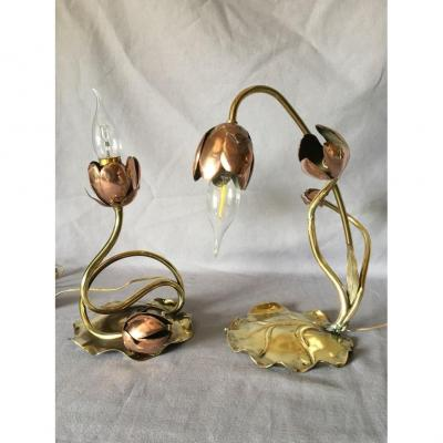 Pair Of Art Nouveau Lamps In Copper And Brass