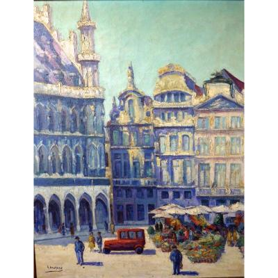 Flower Market Grand Place De Bruxelles Signed Georges Daumerie