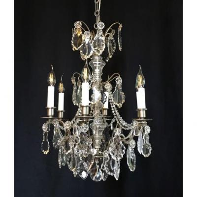 Nickel-plated Metal Chandelier