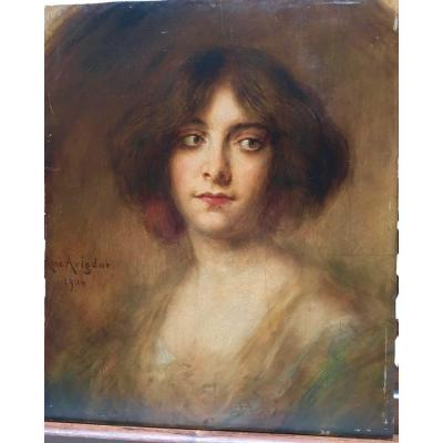 Oil On Panel Art Nouveau Portrait Signed René Avigdor 1904