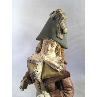 Muscadin ou Incroyable, Statuette En Terre Cuite Signée Beaugrand