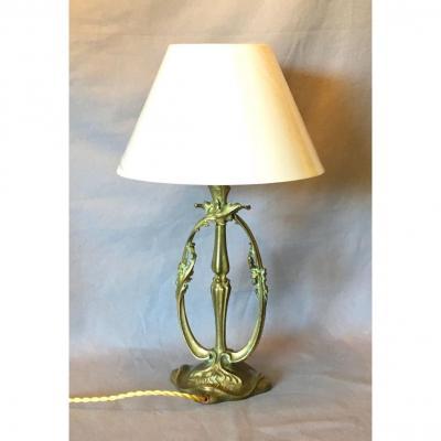 Art Nouveau Gilt Bronze Lamp