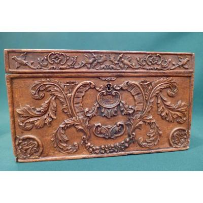 19thc Box In Carved Walnut All Faces