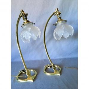 Paire de Lampes Coeur Art Nouveau